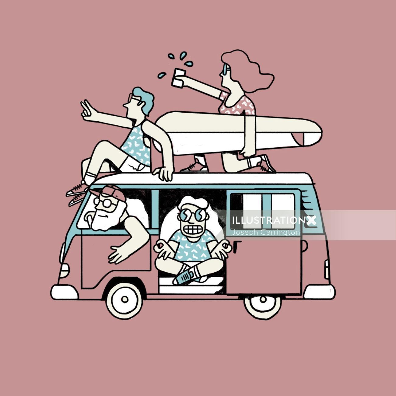 Graphic people in van