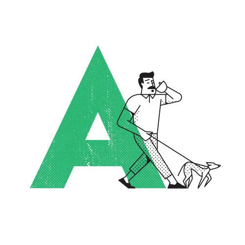 arte em linha de homem caminhando com cachorro