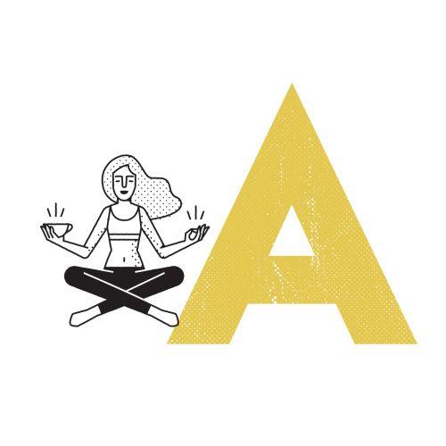 Line art of meditating woman