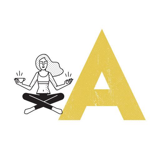 Linha arte de meditar mulher