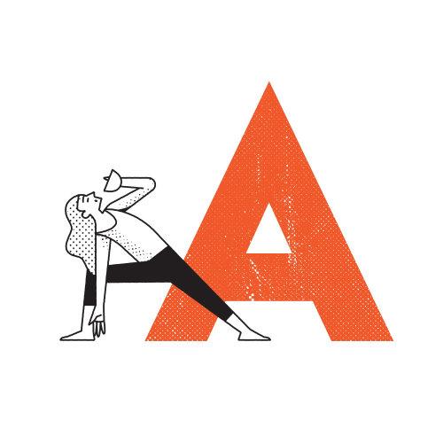 Linha artística de mulher fazendo ioga