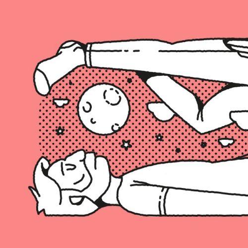 Line drawing of people upside down
