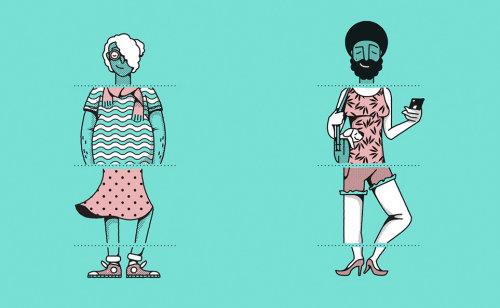 Homem e mulher de cor lisa