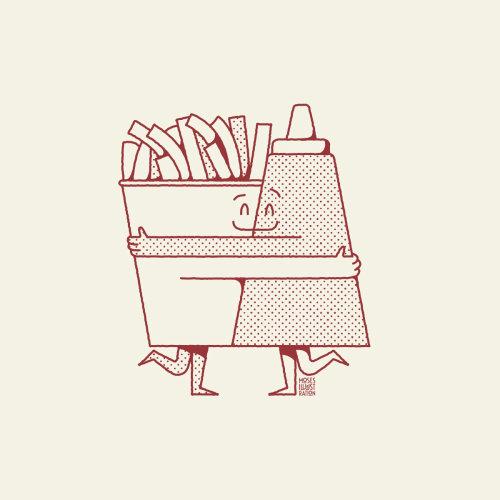 Desenhos animados e humor batatas fritas e molho