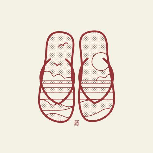 Line art of slippers