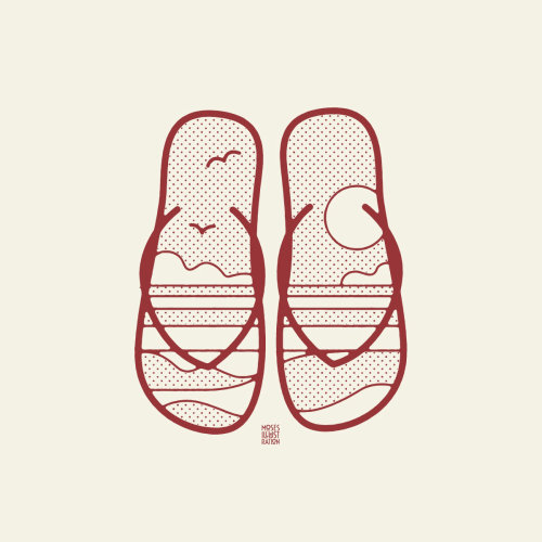 Arte em linha de chinelos