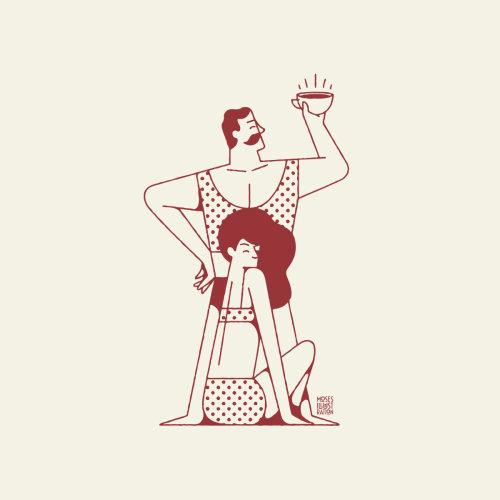 Linha artística de casal com café