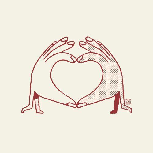 Line fingers in love shape