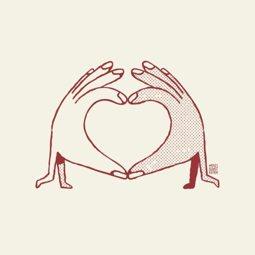 Linha dedos em forma de amor