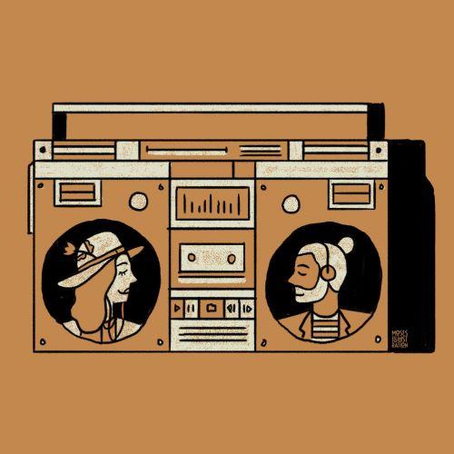 line art of tape recorder