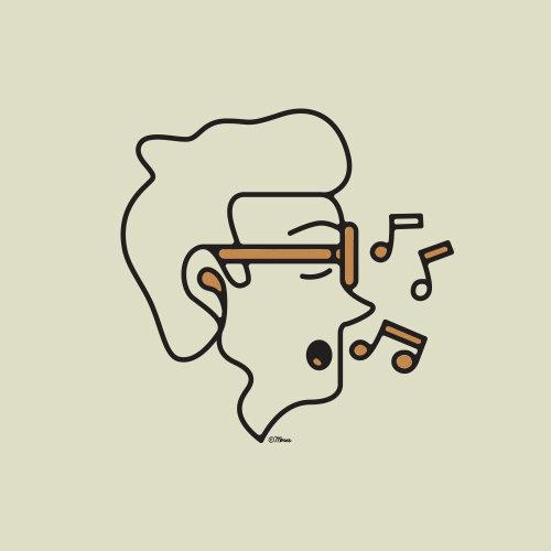 Linha artística do homem cantando