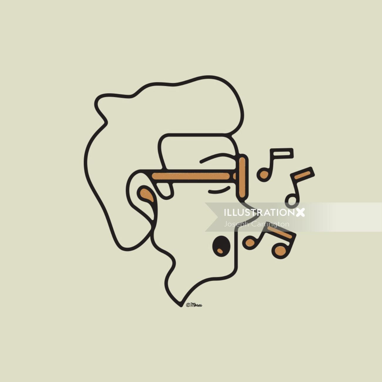 Line art of man singing