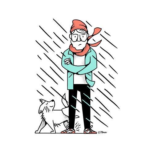 Homem de desenho animado e humor com cachorro na chuva