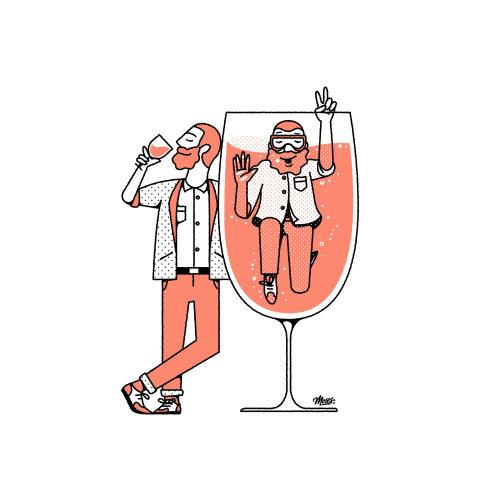 Homem de desenho animado e humor bebendo vinho