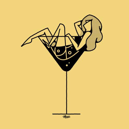 Mulher de linha em uma taça de vinho
