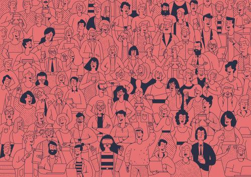 Desenho de linha de pessoas