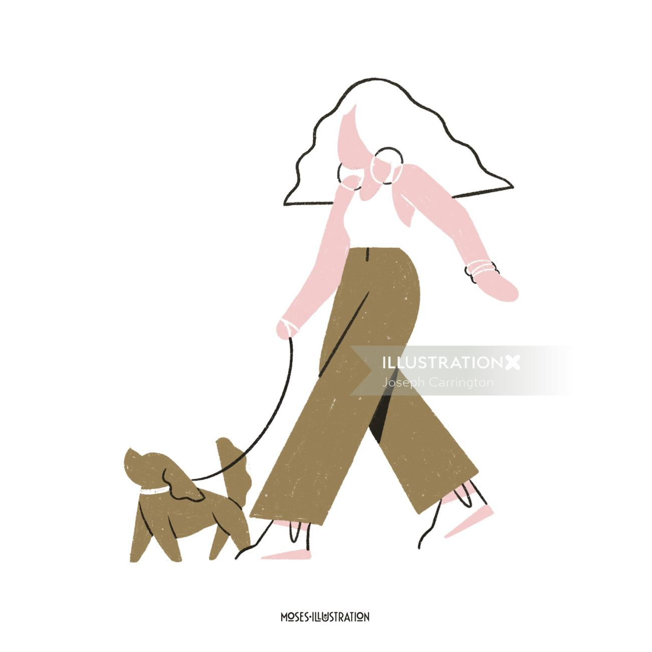people woman walking with dog