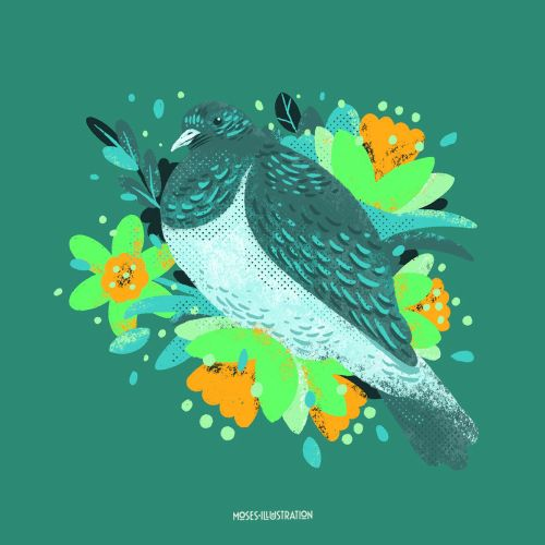 Graphic of Bird with flowers