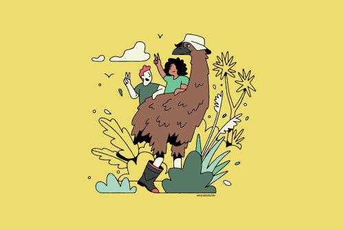 Casal de desenhos animados e humor com grande pássaro