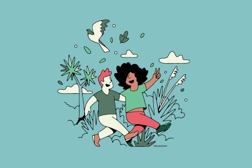 Desenhos animados e humor de pessoas caminhando