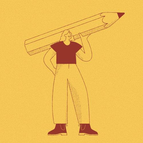 Mulher segurando lápis
