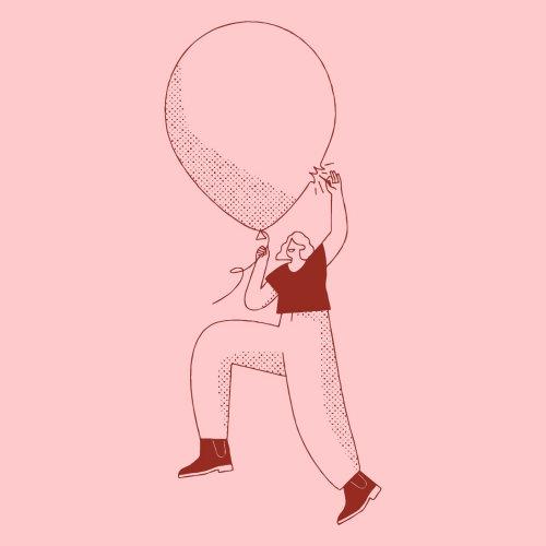 Pessoas mulher explodindo balão