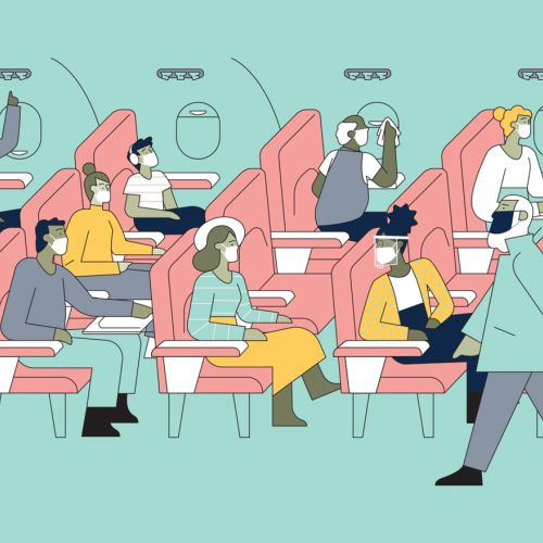 Graphic people sitting in aeroplane