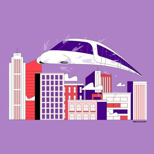 Graphic train in city