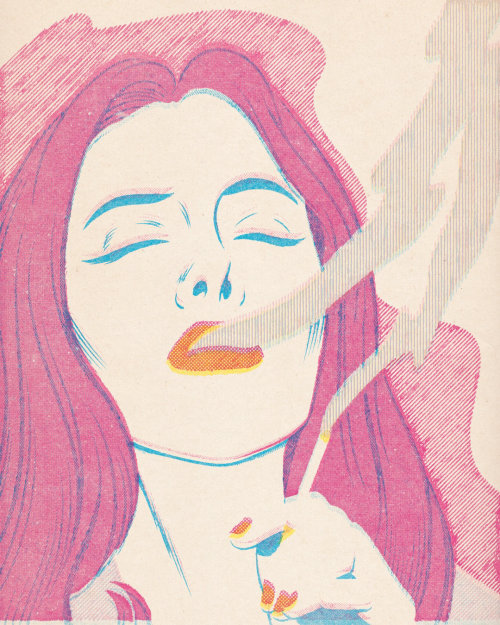 Illustration of smokin woman