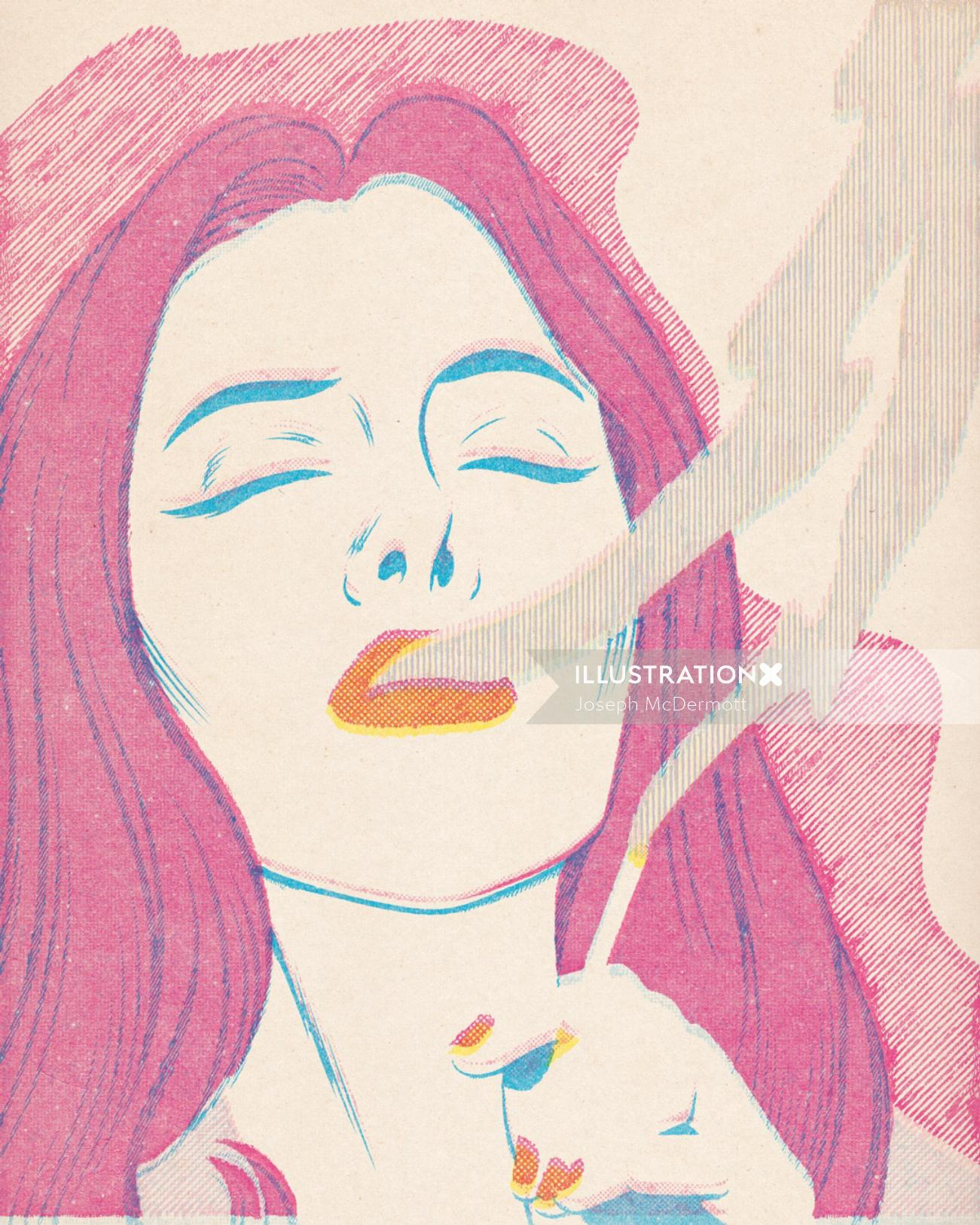 Illustration of smokin woman