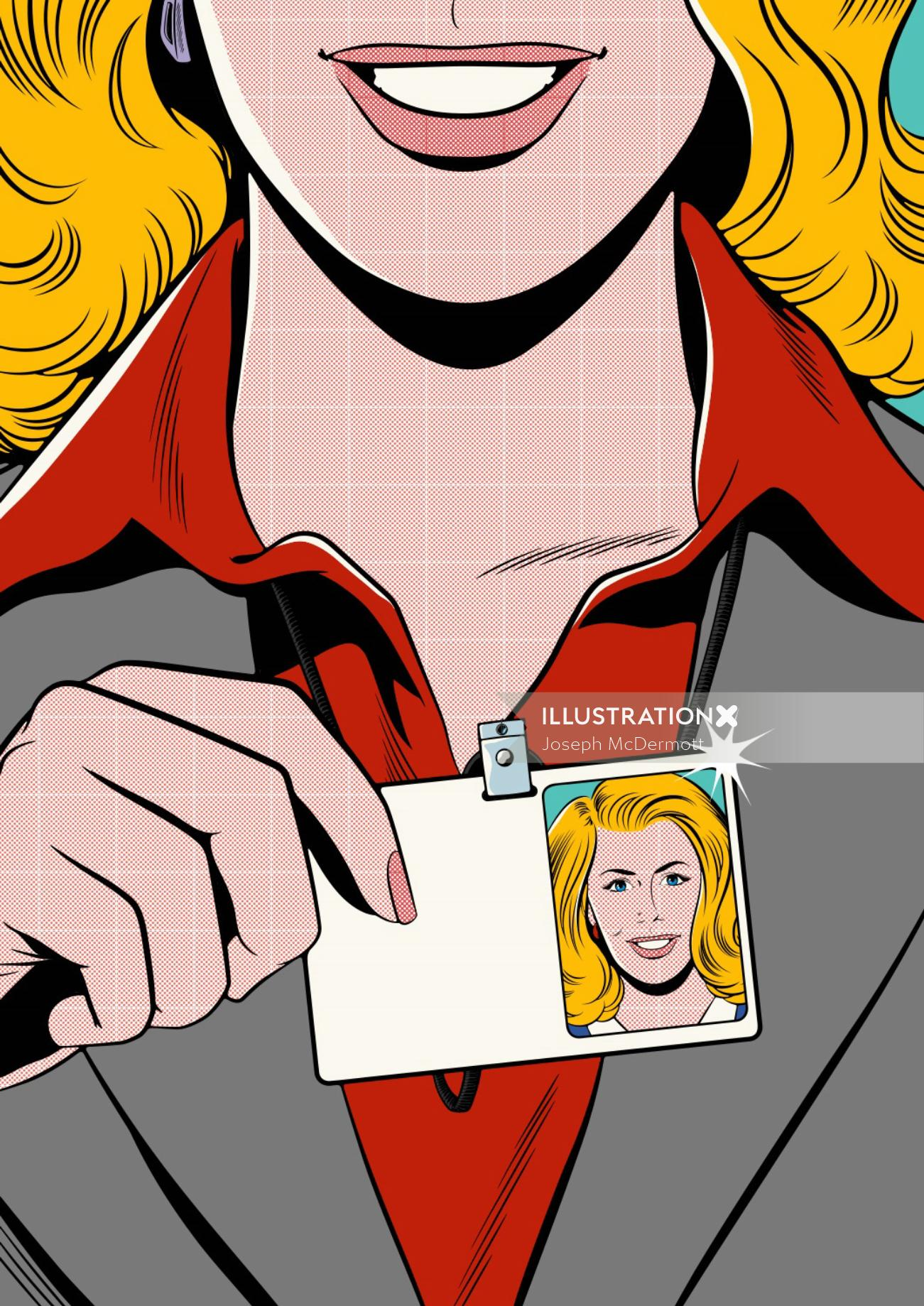 smiling woman holding id card