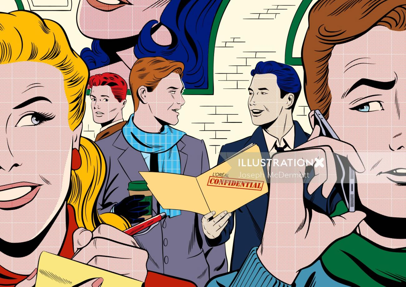 overhearing confidential data illustration