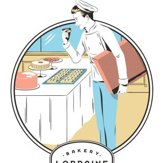 Artwork of chef in bakery kitchen
