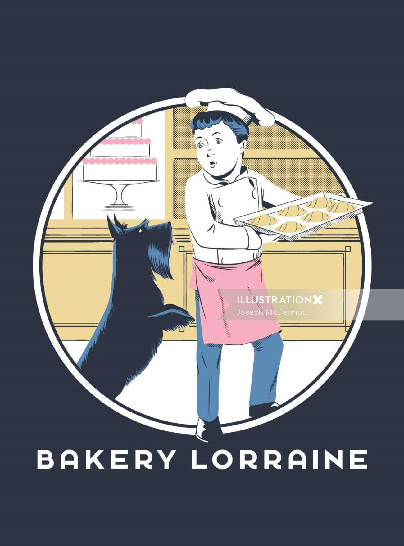 Art of chef and dog in bakery
