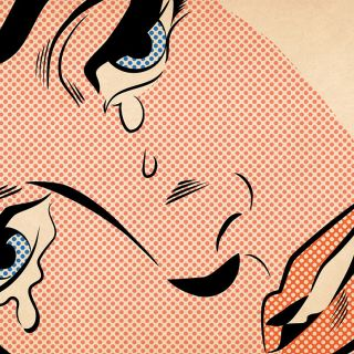 Comic art of woman weeping
