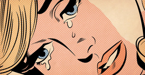 Comic art of woman weeping