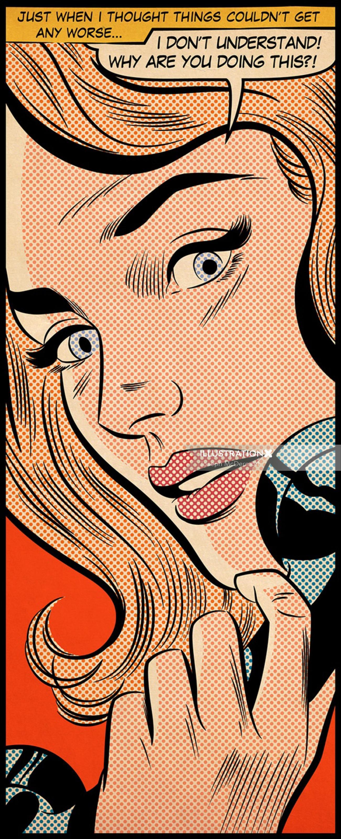 Comic art of woman on phone