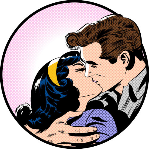 Couple kissing in retro style