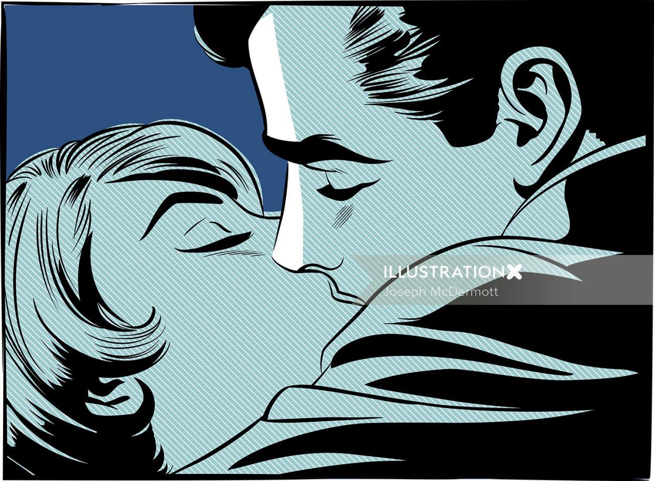 Vector art of couple kissing