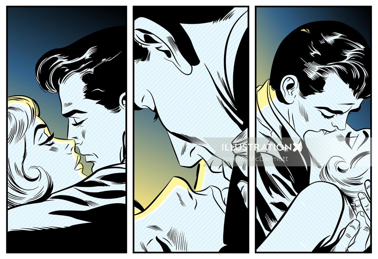 Illustration of couple kissing