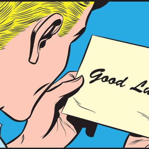 Good luck postal card illustration