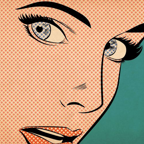 Female close up face in pop style art