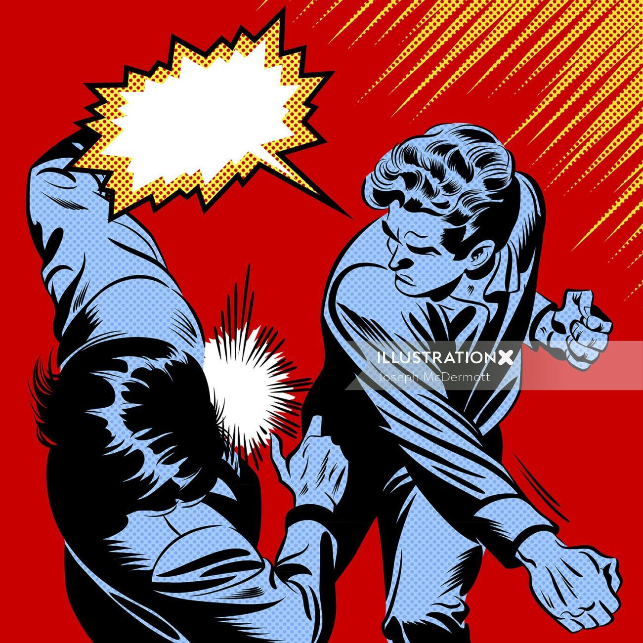 Pop art of people punching