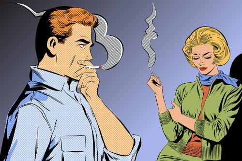 Comic illustration of smoking couple