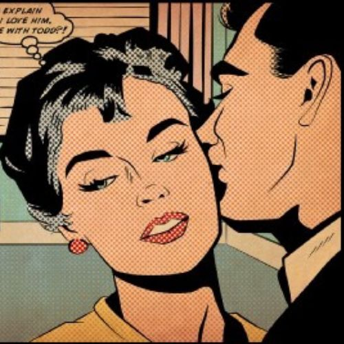 Comic of man kissing woman