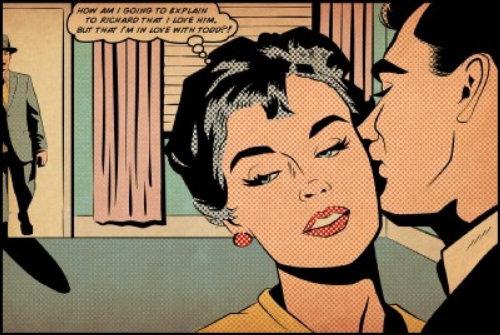 Comic of man kissing woman