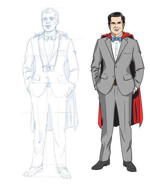 Cartoon of super man suit in making
