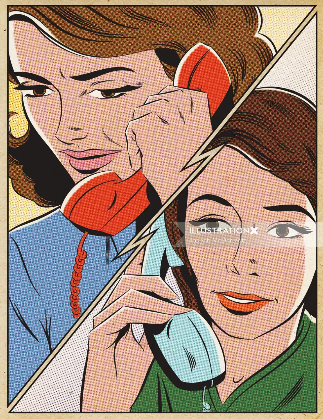 Illustration of girls talking over phone