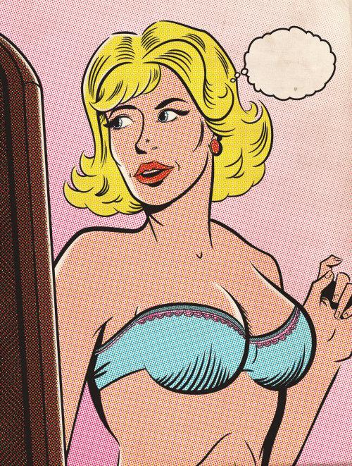 Illustration of woman in bra