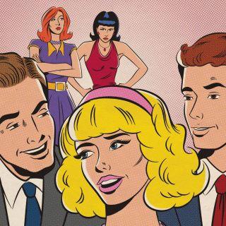 Retro illustration of people